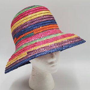Multicolor Rainbow Straw Hat